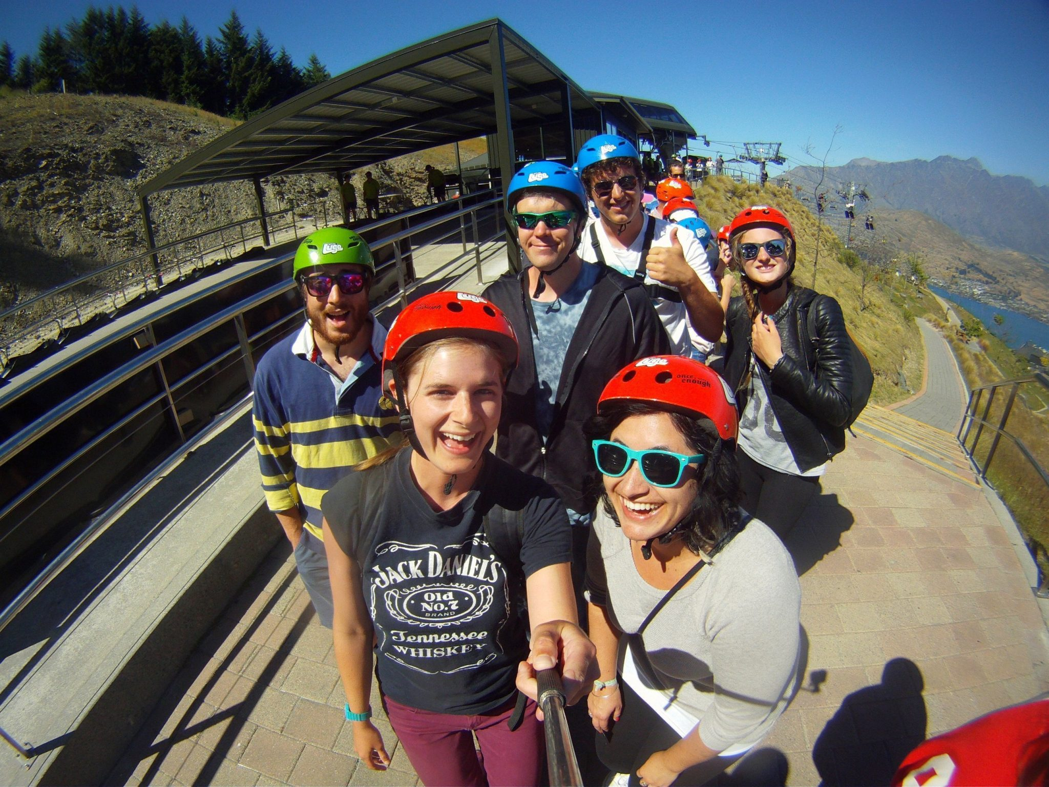 Luging with new friends - Queenstown, New Zealand