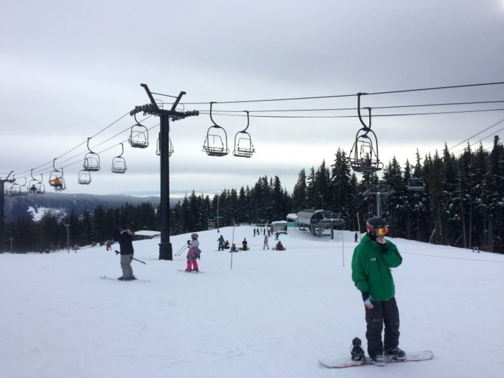 Tackling the ski lift at Mt. Hood Meadows Ski Resort - Oregon