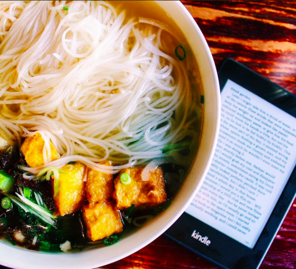 Reading & eating pho in Victoria, Canada