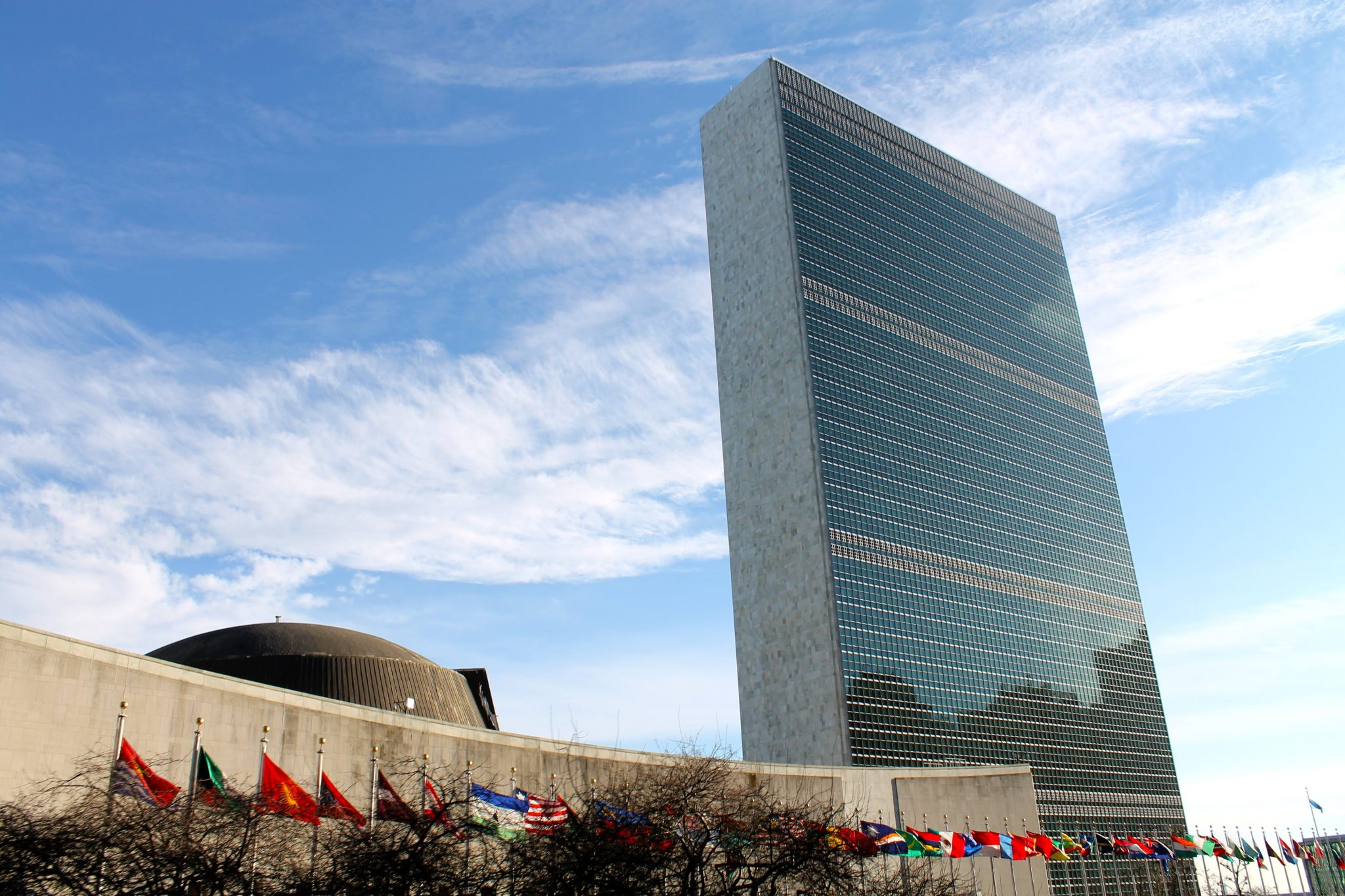 The view of the UN building from the downtown loop of a Gray Line bus tour - NYC on a budget