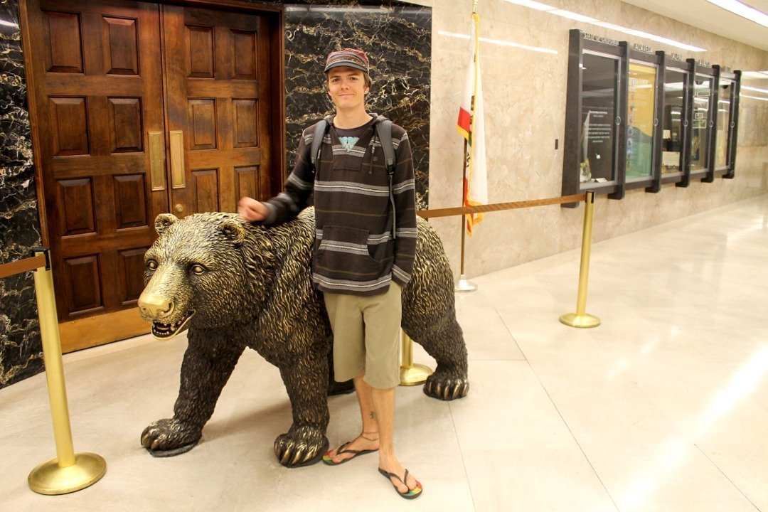 Kendall with the California Bear - State Capitol Building Sacramento