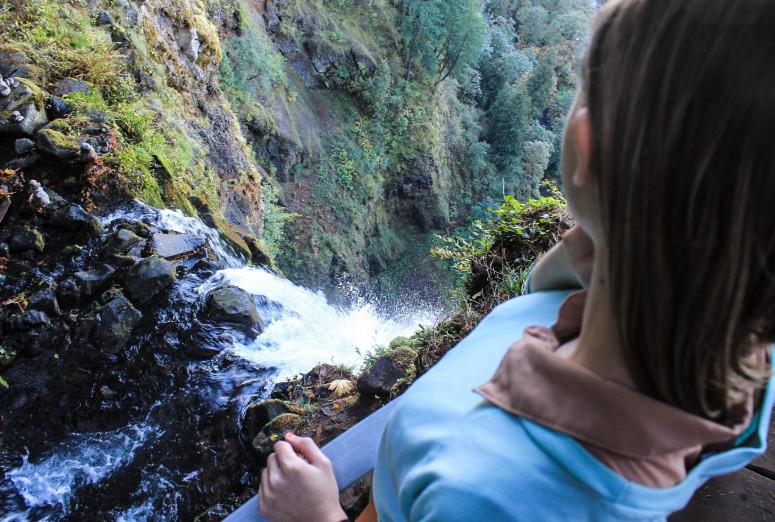 Top of Multnomah Falls on The Fruit Loop Tour