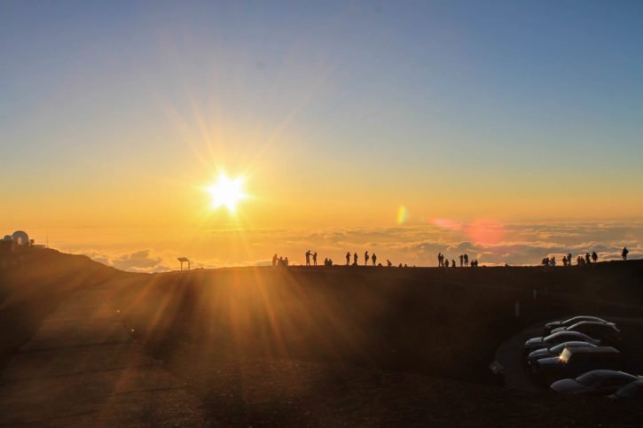 Sunset at Haleakalā Volcano Summit in Maui, Hawaii
