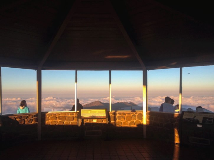 Watching the sunset at the Haleakalā summit in Maui, Hawaii