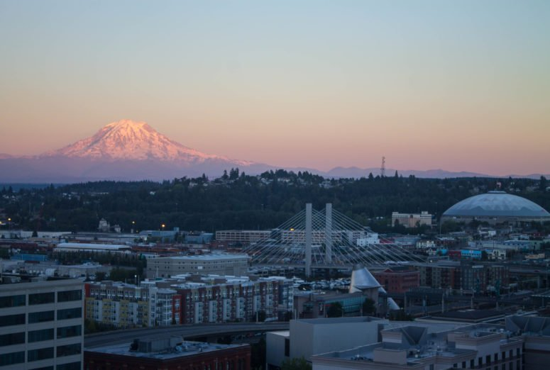 A View of Mt. Rainier from Hotel Murano - Tacoma, Washington - USA