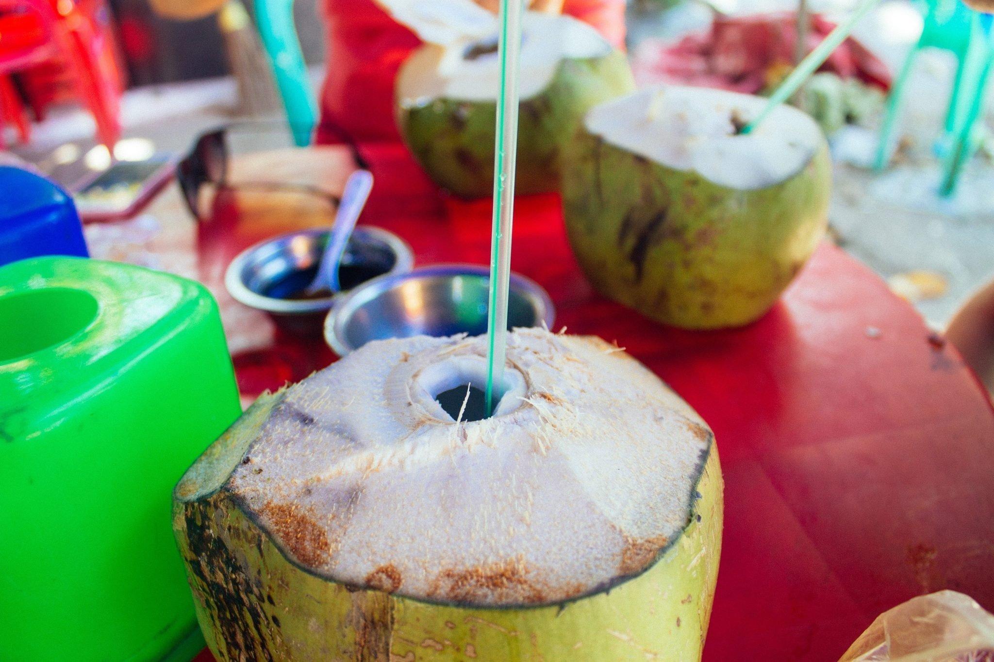 Fresh coconut juice in Yangon, Myanmar