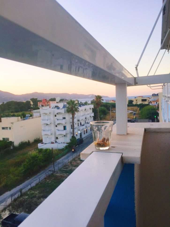 Sunset balcony view in Crete, Greece - Europe Travel