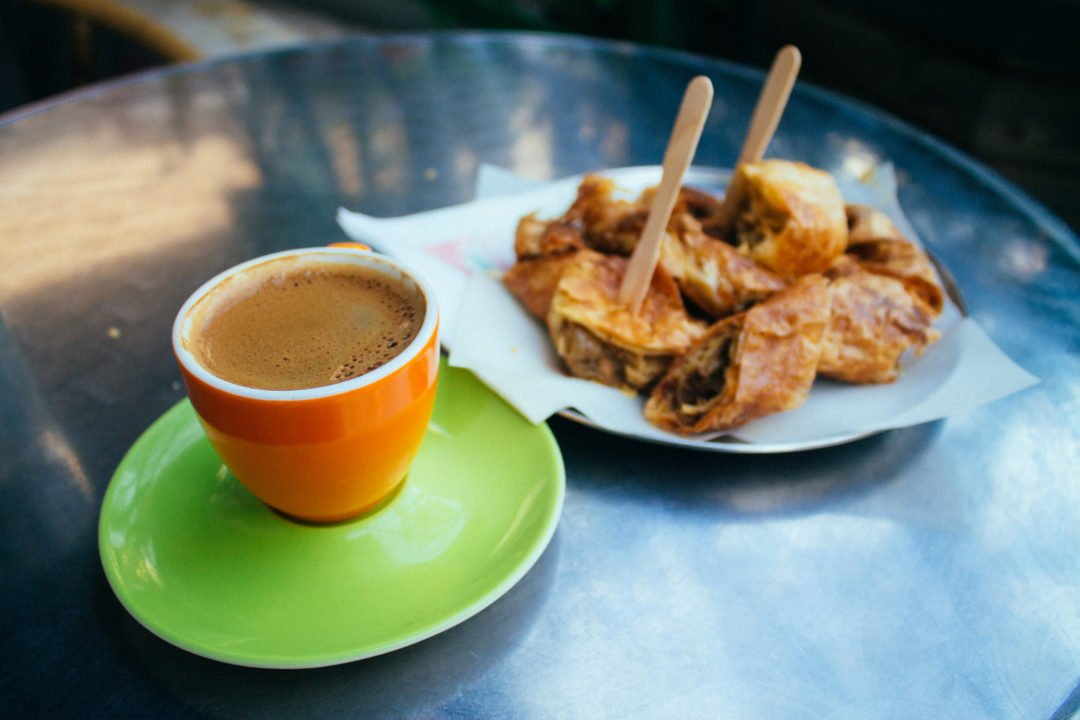 Flaky pie and Greek coffee for breakfast in Greece - Europe Travel