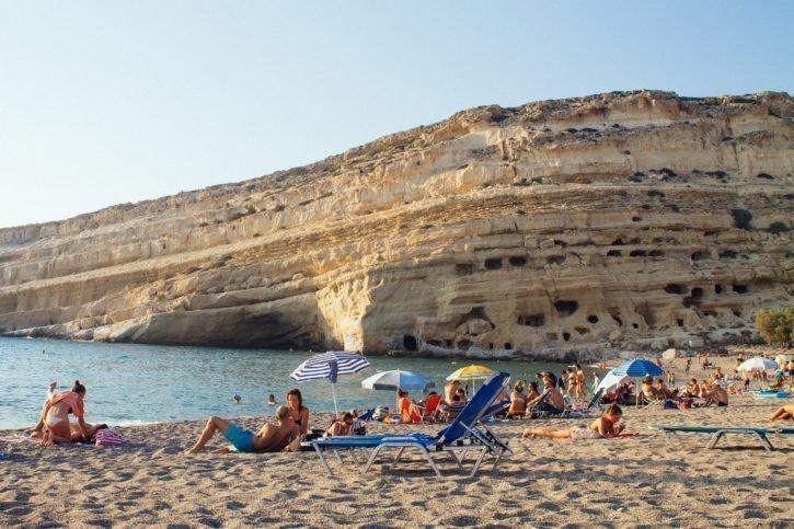 Matala Beach in Crete, Greece - Europe Travel