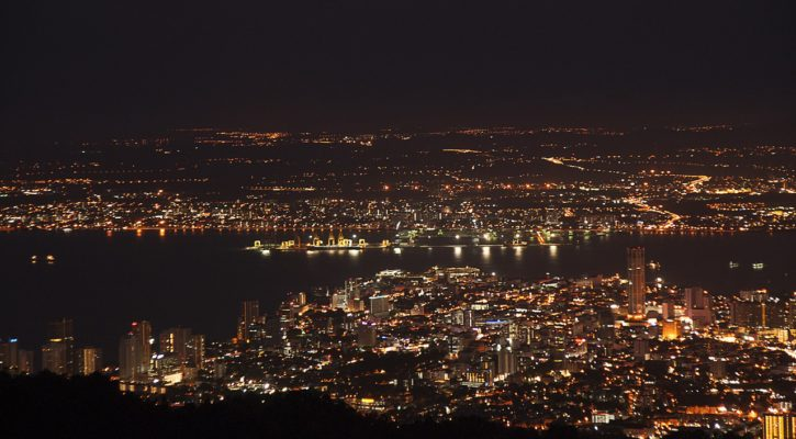 Penang Hill at night looking out over Georgetown, Malaysia | Asia Travel