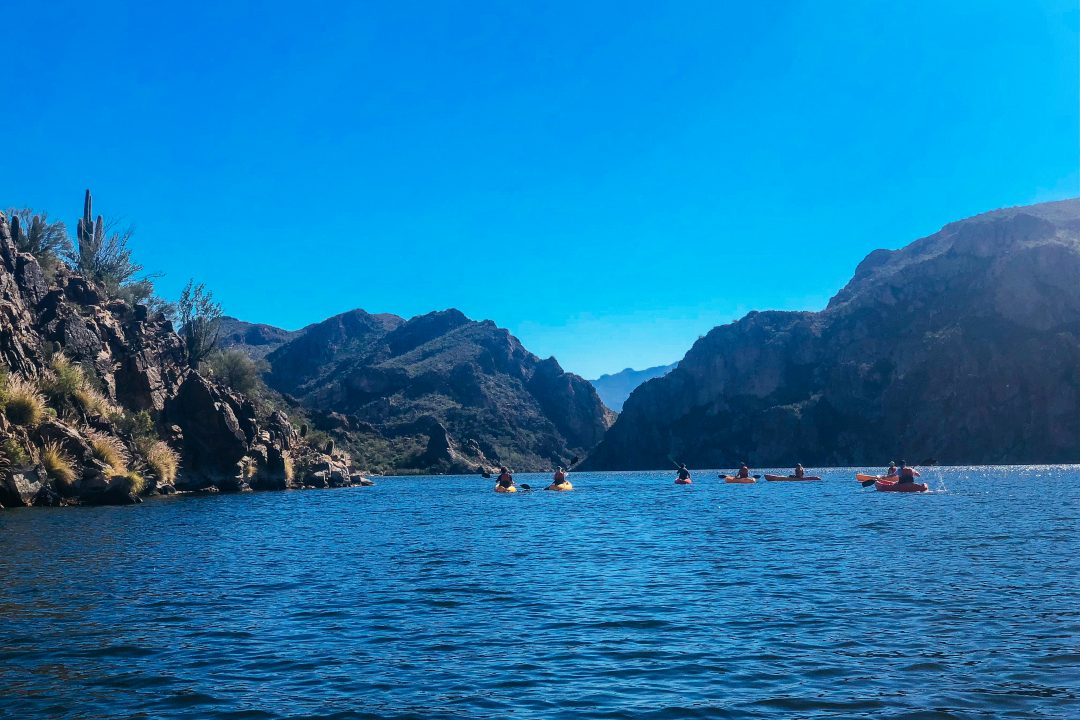 One of the best things to do in Mesa AZ - kayaking Butcher Jones Beach along the Salt River