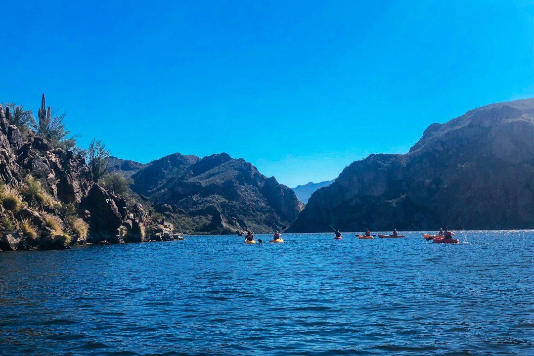 One of the best things to do in Mesa AZ - kayaking Butcher Jones Beach along the Salt River