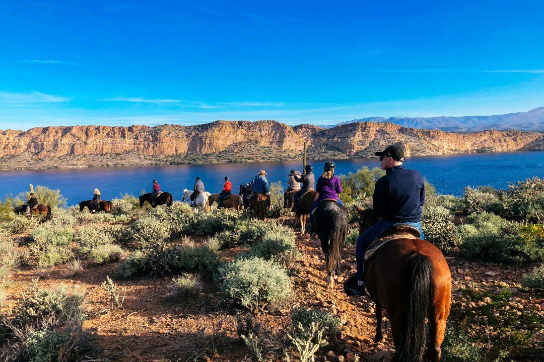 Horseback riding around Saguaro Lake Guest Ranch