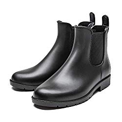DKSUKO Rain Boots for Women Waterproof Elastic Slip On Ankle Chelsea Boots