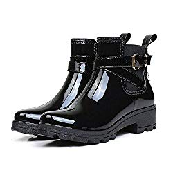 Holyami Fashion Short Rain Boots for Women-Waterproof Non-Slip Black Ankel Rubber Chelsea Rain Booties Shoes