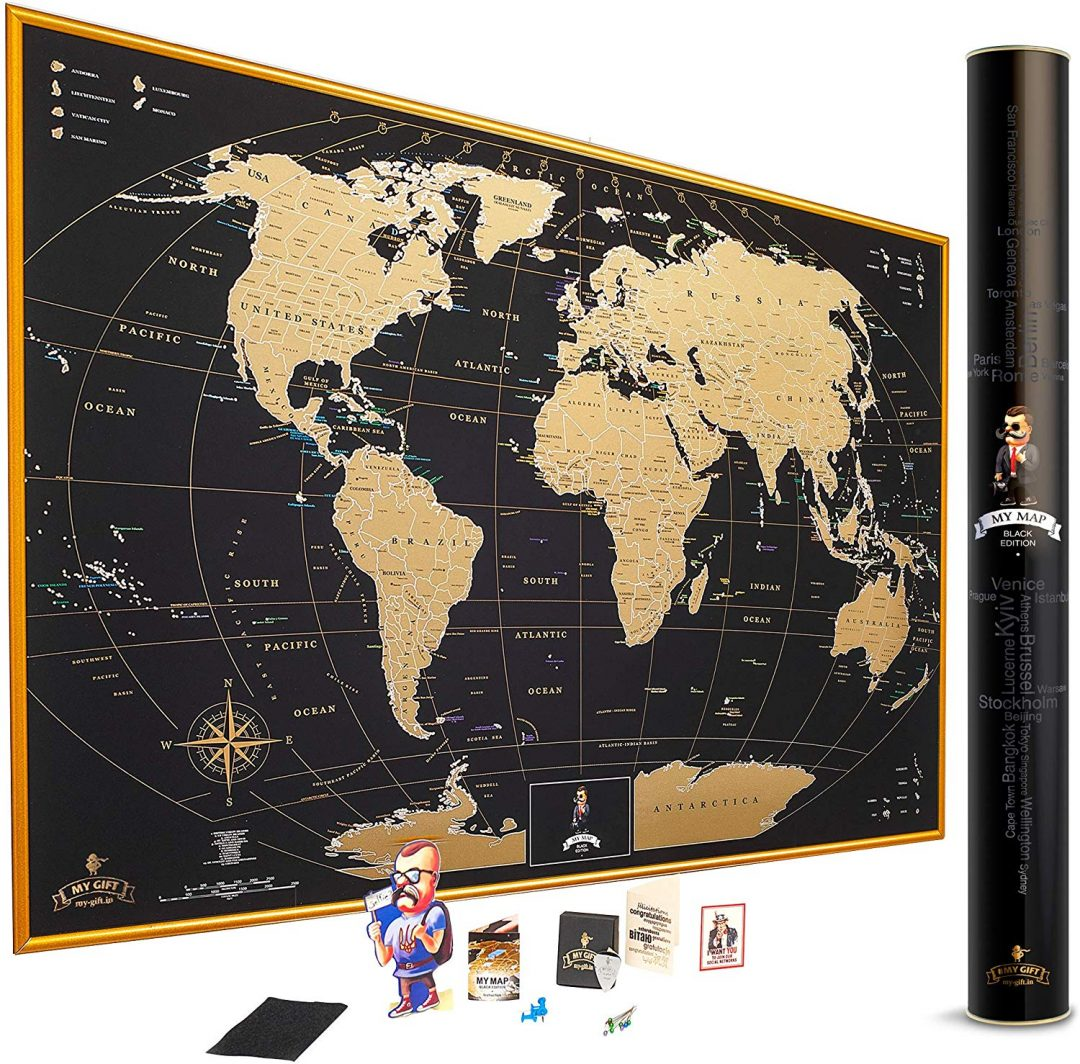 good gifts for parents - gold scratch off world map