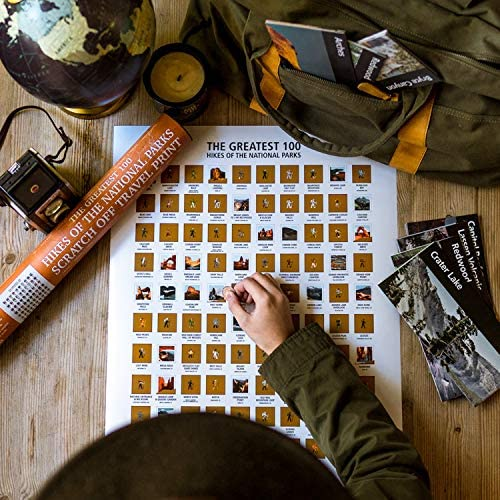 The Greatest 100 Hikes of the National Parks Scratch Off Map