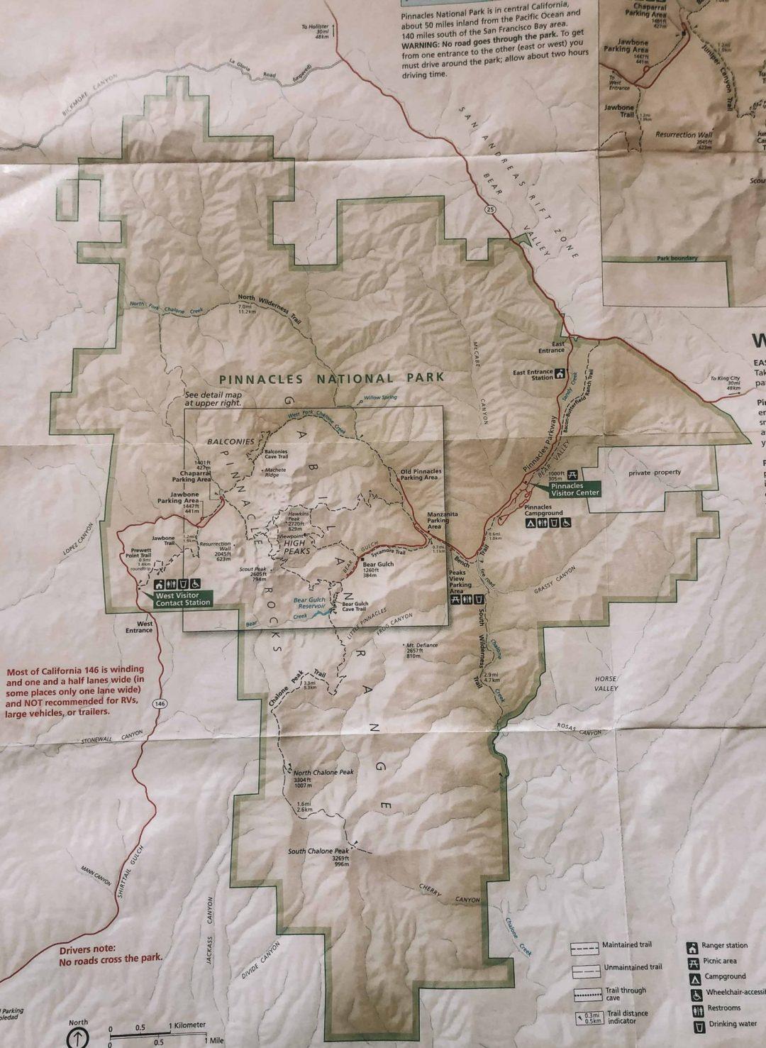 pinnacles hiking map