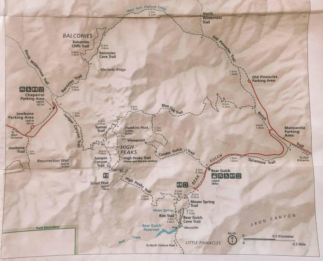 Pinnacles trail map