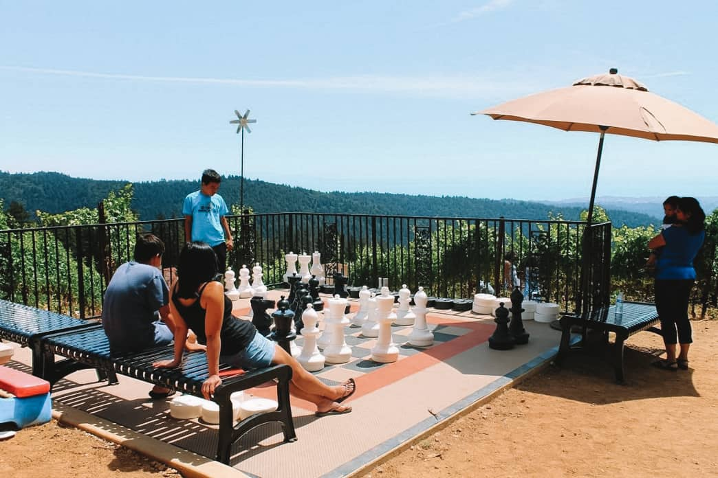life sized chessboard at Loma Prieta Winery