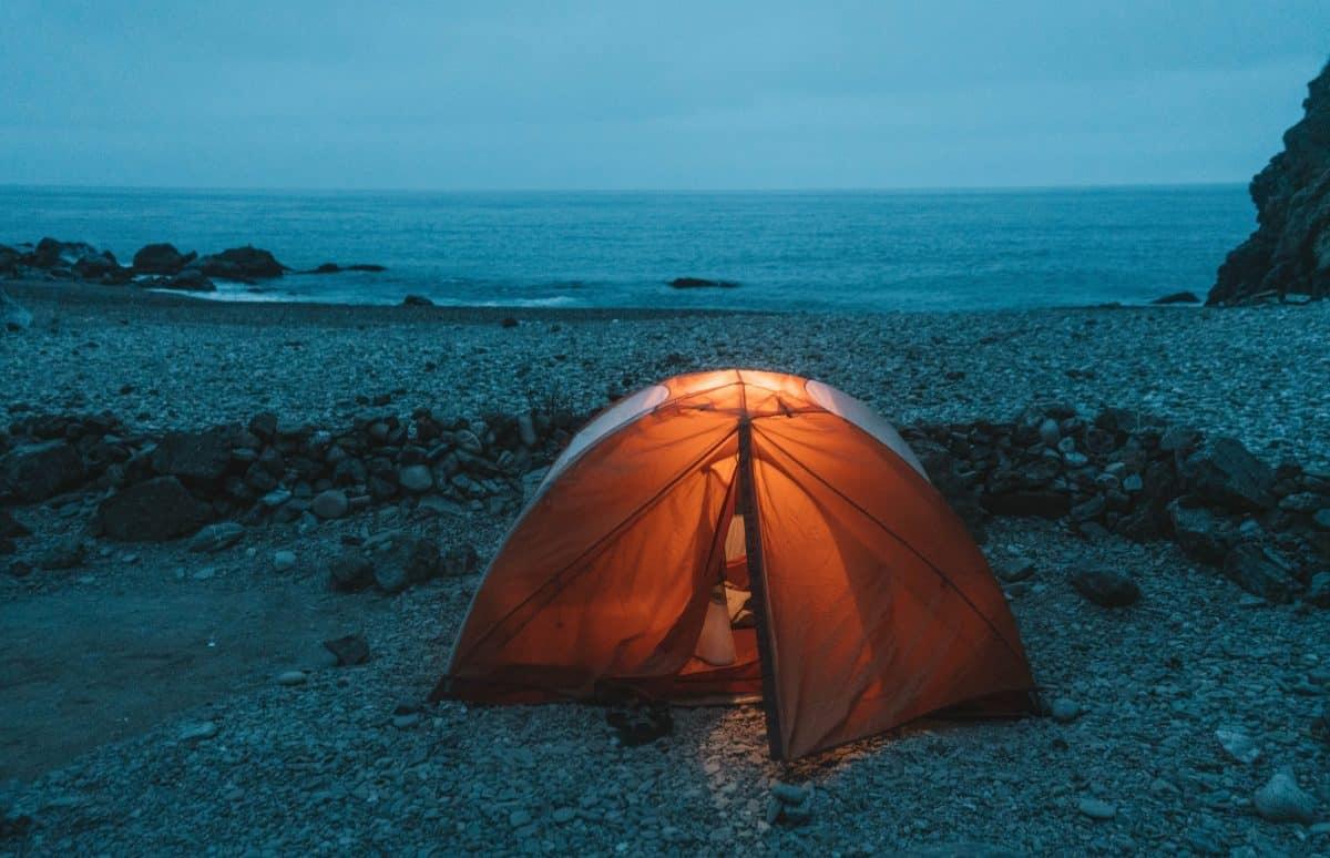 camping near the beach on Catalina Island