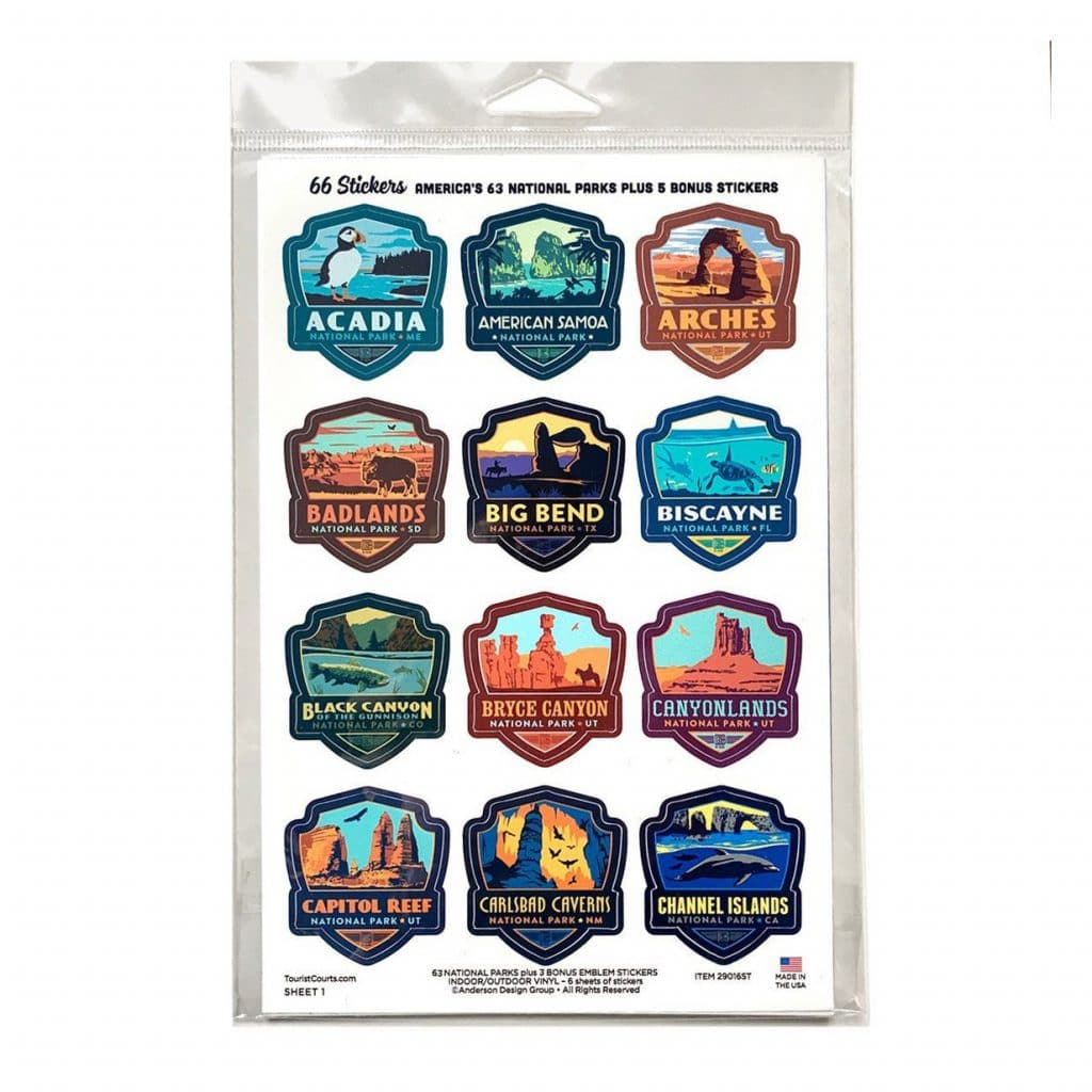 National Park Travel Stickers Gift