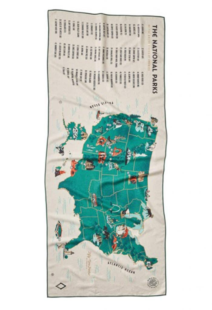 National Parks Map Towel Gift