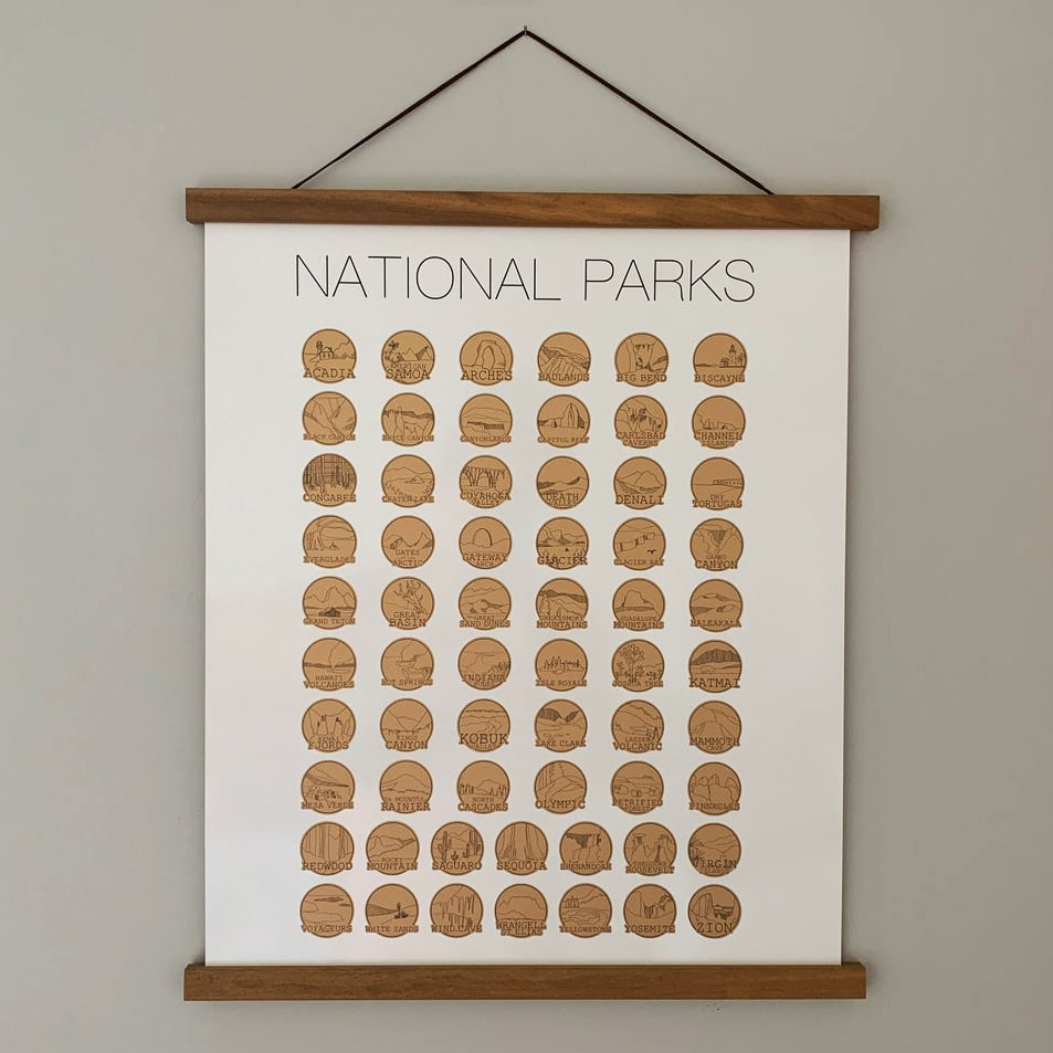 National Parks Poster Scratch Off Map Gift