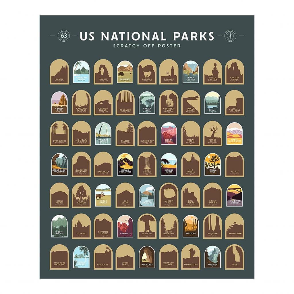 National Parks Scratch Off Poster Gift